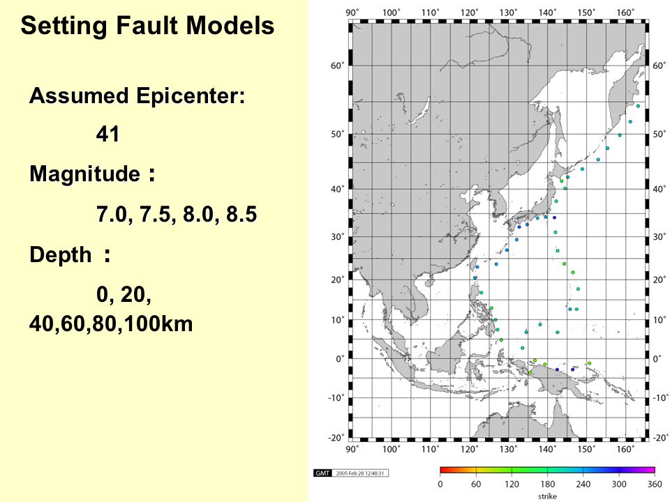 Setting Fault Models Assumed Epicenter: 41 41 Magnitude : 7.0, 7.5, 8.0, 8.5 7.0, 7.5, 8.0, 8.5 Depth : 0, 20, 40,60,80,100km