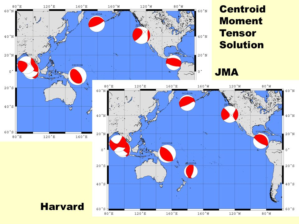JMA Harvard Centroid Moment Tensor Solution