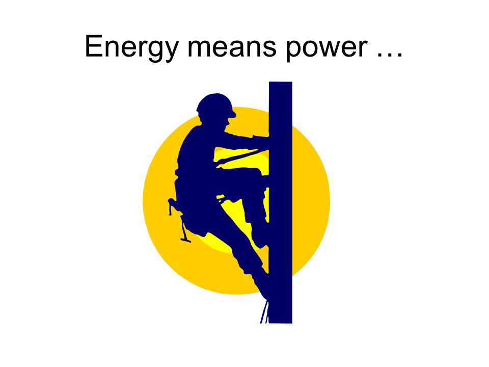 Energy means power …
