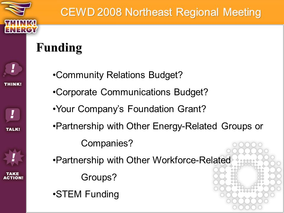 Funding Community Relations Budget? Corporate Communications Budget? Your Company's Foundation Grant? Partnership with Other Energy-Related Groups or