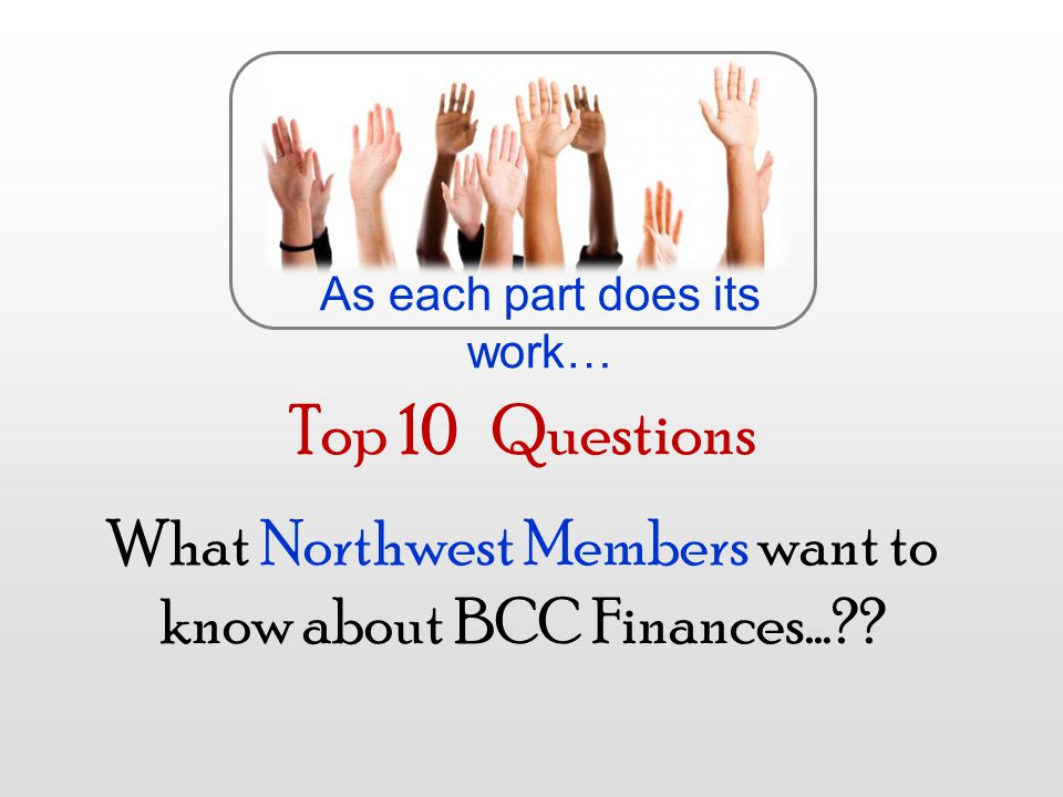 Top 10 Questions What Northwest Members want to know about BCC Finances… .