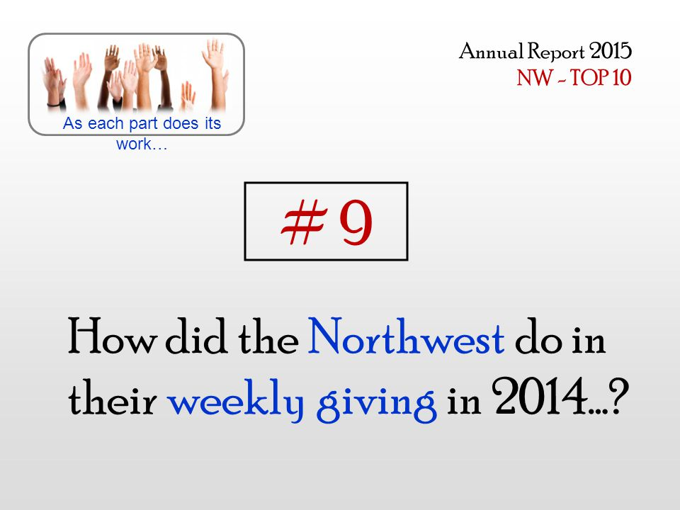 How did the Northwest do in their weekly giving in 2014…? As each part does its work… Annual Report 2015 NW - TOP 10 # 9