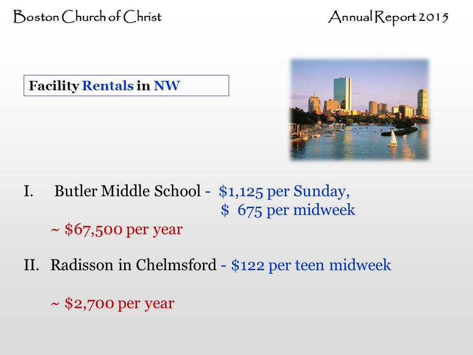 Boston Church of Christ Annual Report 2015 Facility Rentals in NW I.