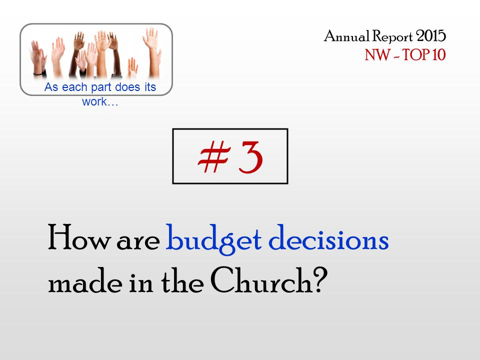 How are budget decisions made in the Church? As each part does its work… Annual Report 2015 NW - TOP 10 # 3