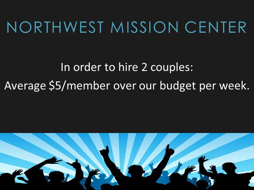 NORTHWEST MISSION CENTER In order to hire 2 couples: Average $5/member over our budget per week.