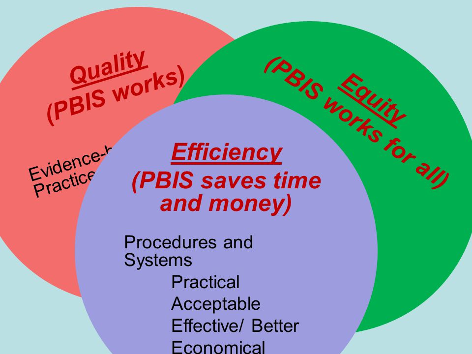 Quality (PBIS works) Evidence-based Practices Behavior Support Family Systems Social skills development Equity (PBIS works for all) All Students Race/ Ethnicity Disability Gender Sexual Preference Efficiency (PBIS saves time and money) Procedures and Systems Practical Acceptable Effective/ Better Economical