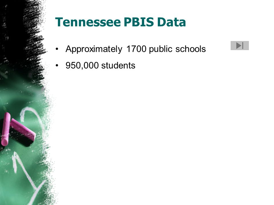 Tennessee PBIS Data Approximately 1700 public schools 950,000 students