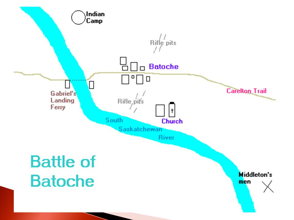  3) Battle of Batoche ◦ Riel was upset with Dumont`s progress ◦ He order Dumont and his followers to defend Batoche  A BIG MILITARY MESS-UP!!.