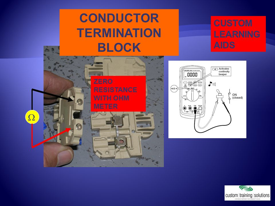 ZERO RESISTANCE WITH OHM METER  CONDUCTOR TERMINATION BLOCK CUSTOM LEARNING AIDS