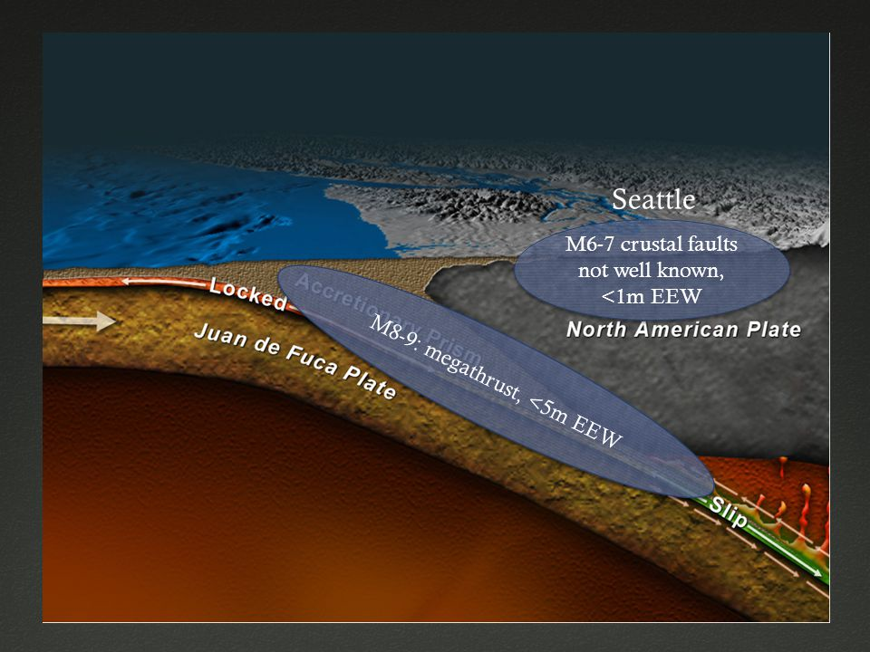 Seattle M6-7 crustal faults not well known, <1m EEW M8-9: megathrust, <5m EEW