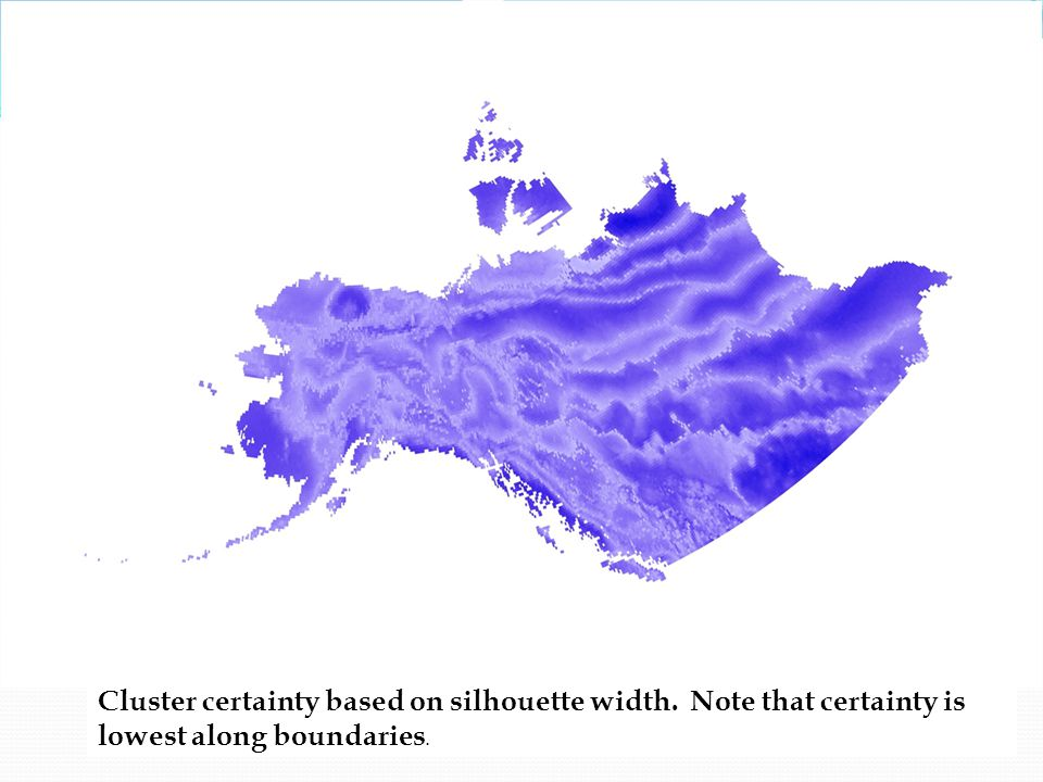 Cluster certainty based on silhouette width. Note that certainty is lowest along boundaries.