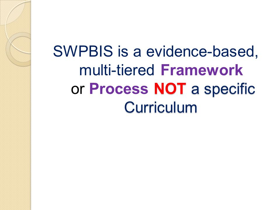 NOT a specific Curriculum SWPBIS is a evidence-based, multi-tiered Framework or Process NOT a specific Curriculum