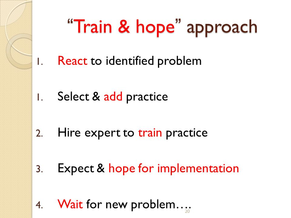 "20 "" Train & hope "" approach 1. React to identified problem 1. Select & add practice 2. Hire expert to train practice 3. Expect & hope for implementat"