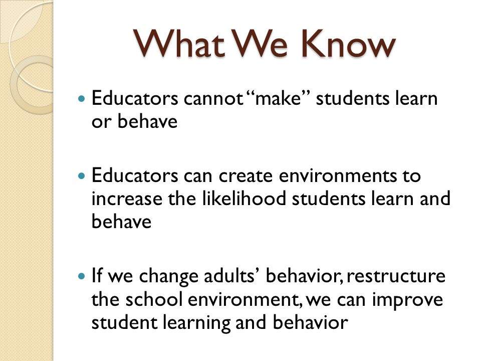 25 What SWPBIS looks like: Individual Student Behavioral competence at school & district levels Function-based behavior support planning Team- & data-based decision making Comprehensive person-centered planning Targeted social skills & self-management instruction Individualized instructional & curricular accommodations