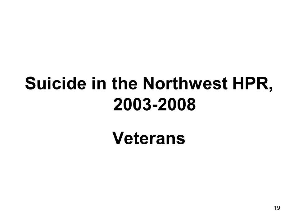19 Suicide in the Northwest HPR, 2003-2008 Veterans