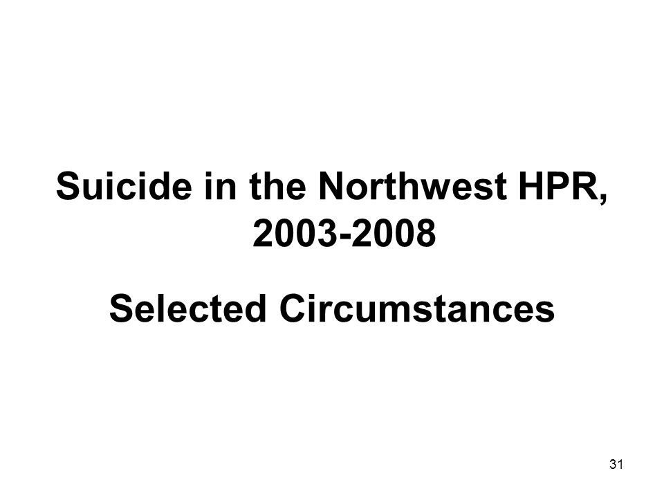 31 Suicide in the Northwest HPR, 2003-2008 Selected Circumstances