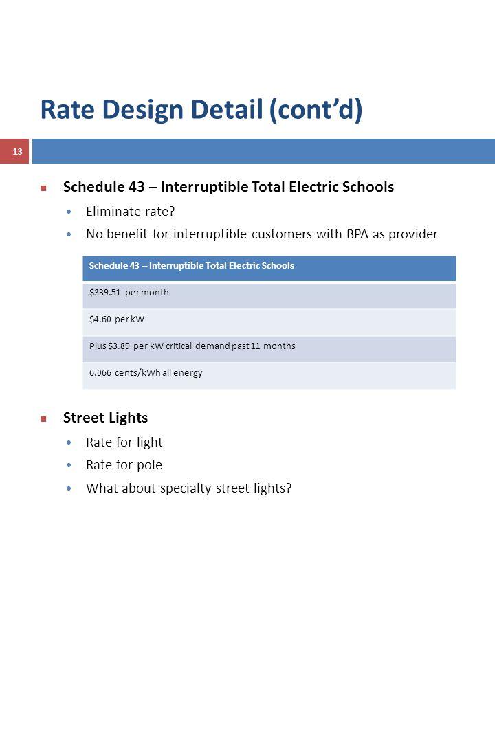 Schedule 43 – Interruptible Total Electric Schools Eliminate rate.