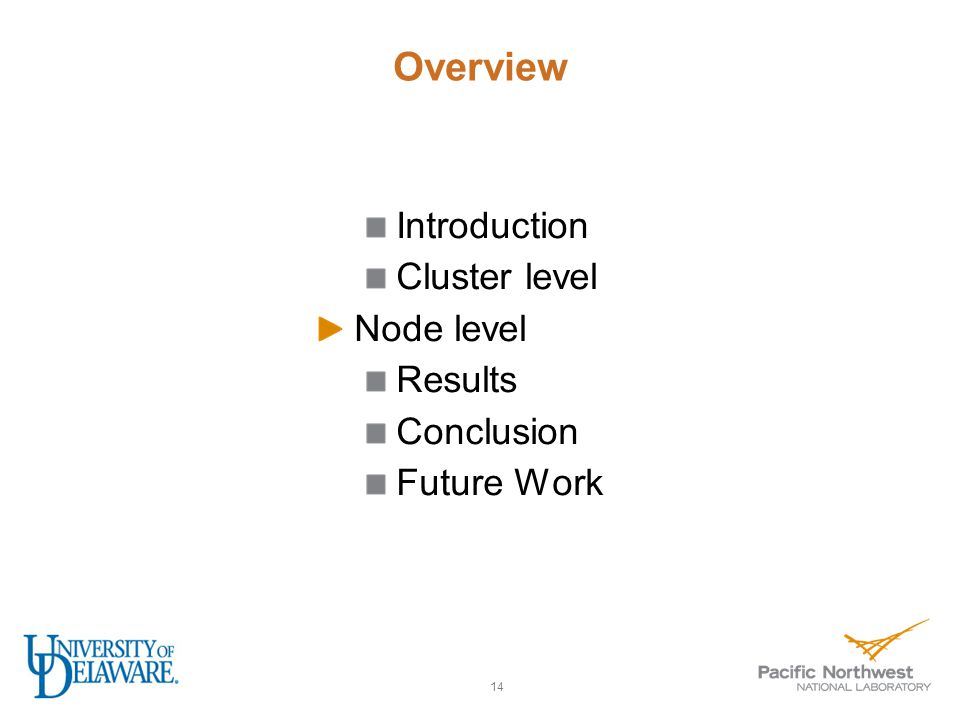 Overview Introduction Cluster level Node level Results Conclusion Future Work 14