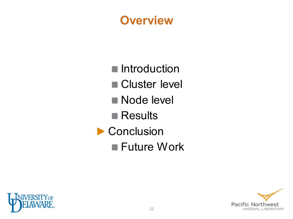 Overview Introduction Cluster level Node level Results Conclusion Future Work 22