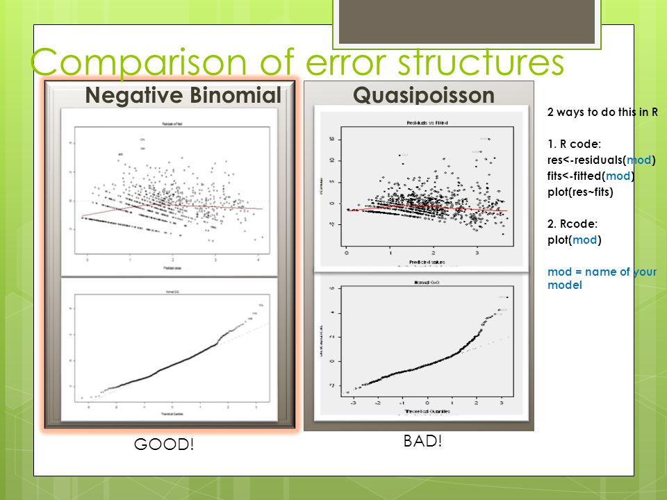 Comparison of error structures Negative BinomialQuasipoisson 2 ways to do this in R 1. R code: res<-residuals(mod) fits<-fitted(mod) plot(res~fits) 2.