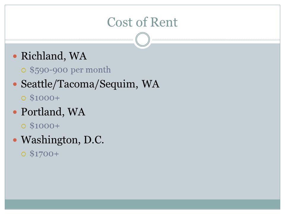 Cost of Rent Richland, WA  $590-900 per month Seattle/Tacoma/Sequim, WA  $1000+ Portland, WA  $1000+ Washington, D.C.  $1700+