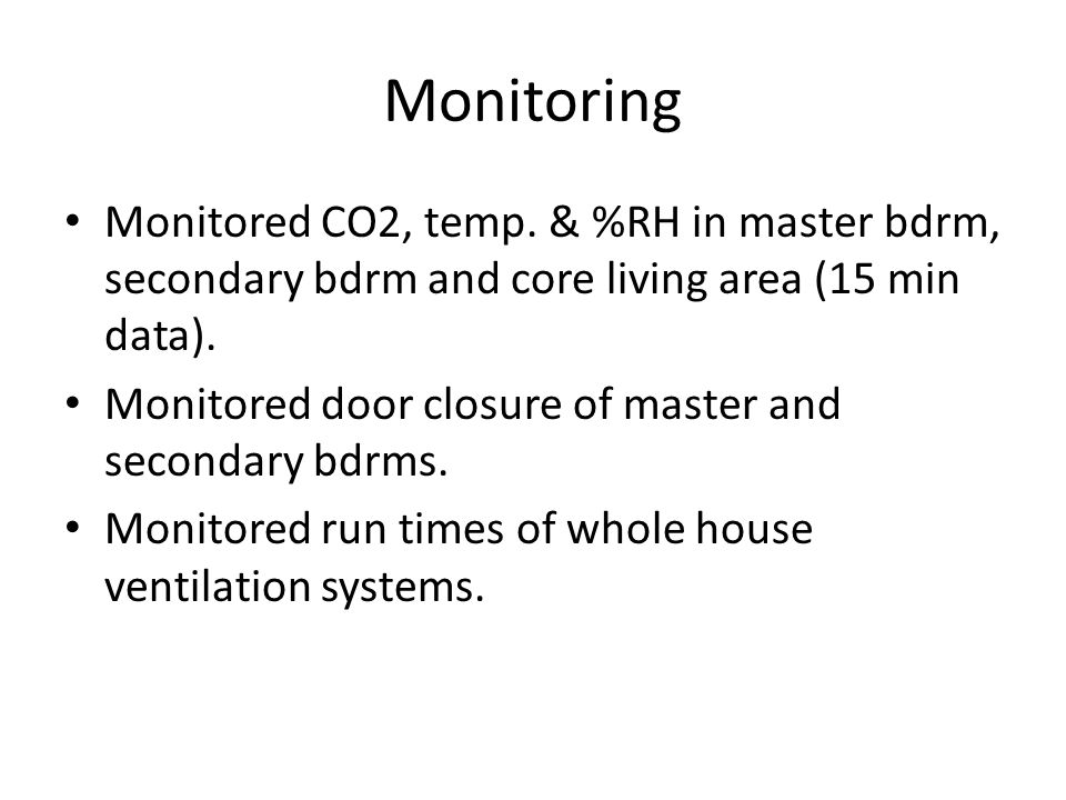 Monitoring Monitored CO2, temp.