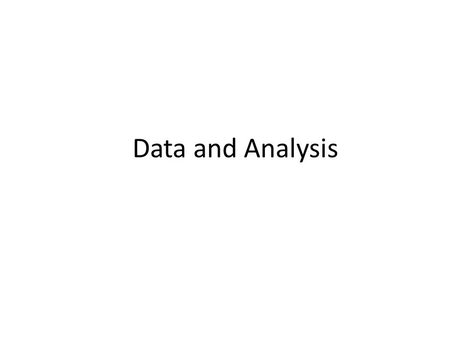 Data and Analysis