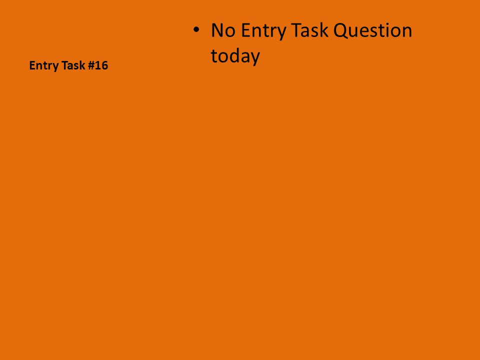 Entry Task #16 No Entry Task Question today