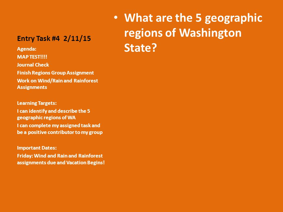 Entry Task #4 2/11/15 What are the 5 geographic regions of Washington State.