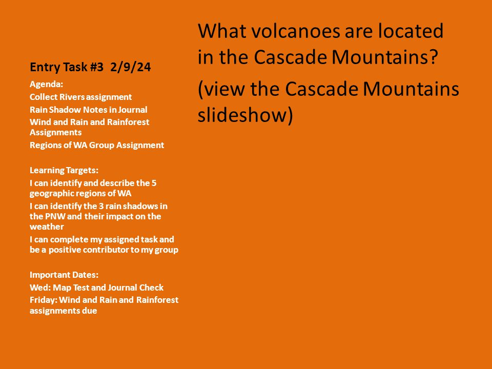 Entry Task #3 2/9/24 What volcanoes are located in the Cascade Mountains.