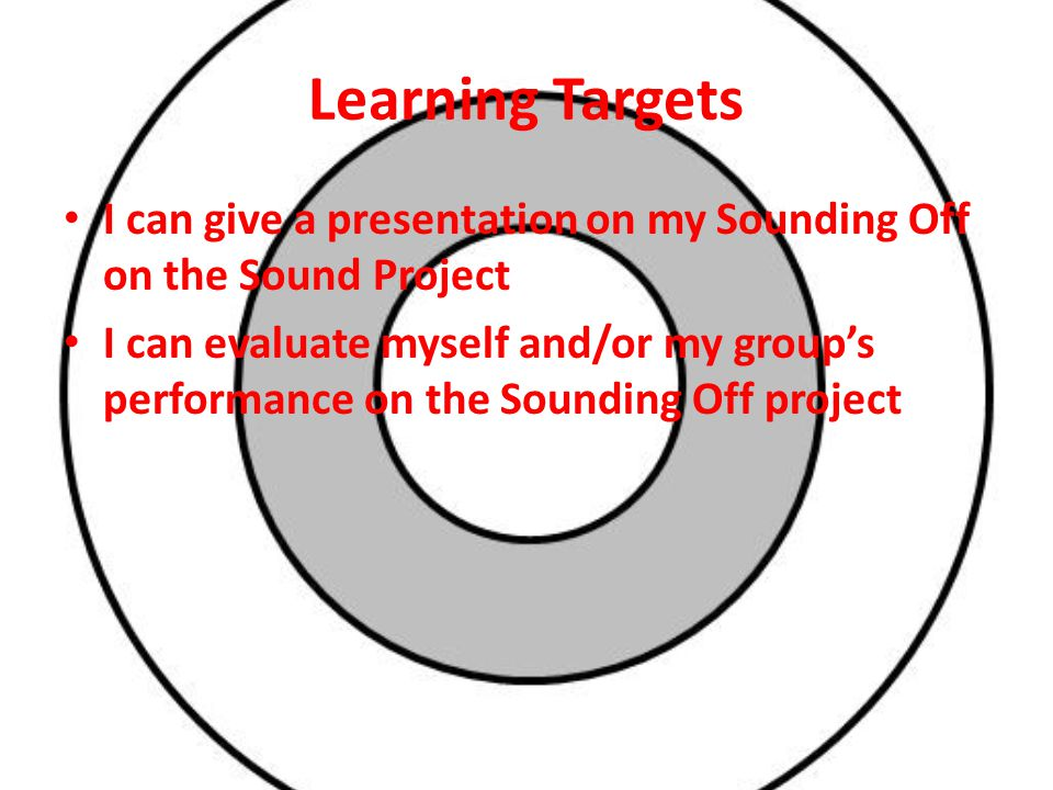 Learning Targets I can give a presentation on my Sounding Off on the Sound Project I can evaluate myself and/or my group's performance on the Sounding Off project