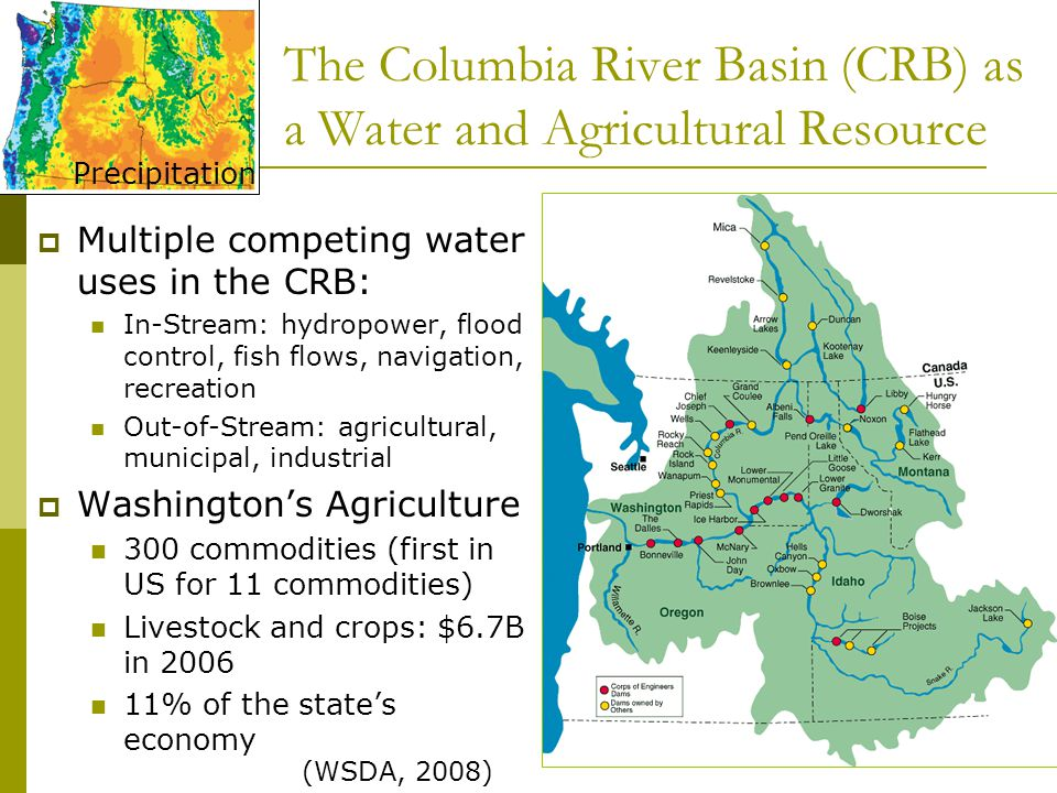 The Columbia River Basin (CRB) as a Water and Agricultural Resource  Multiple competing water uses in the CRB: In-Stream: hydropower, flood control, fish flows, navigation, recreation Out-of-Stream: agricultural, municipal, industrial  Washington's Agriculture 300 commodities (first in US for 11 commodities) Livestock and crops: $6.7B in 2006 11% of the state's economy Precipitation (WSDA, 2008)