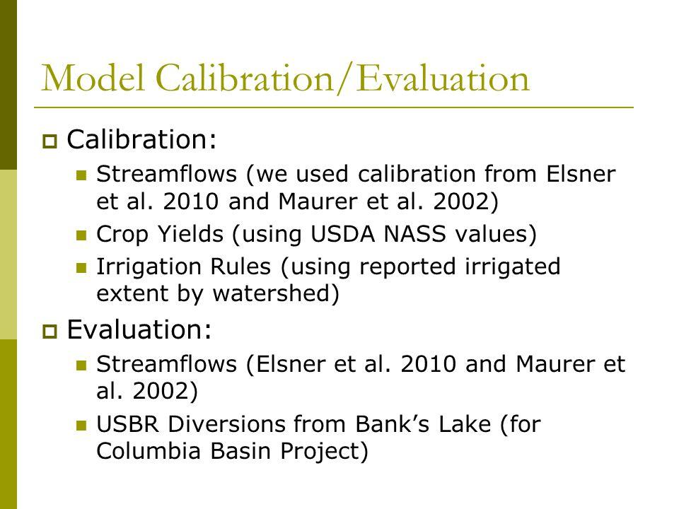 Model Calibration/Evaluation  Calibration: Streamflows (we used calibration from Elsner et al.