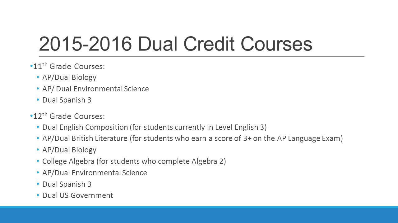 2015-2016 Dual Credit Courses 11 th Grade Courses: AP/Dual Biology AP/ Dual Environmental Science Dual Spanish 3 12 th Grade Courses: Dual English Composition (for students currently in Level English 3) AP/Dual British Literature (for students who earn a score of 3+ on the AP Language Exam) AP/Dual Biology College Algebra (for students who complete Algebra 2) AP/Dual Environmental Science Dual Spanish 3 Dual US Government