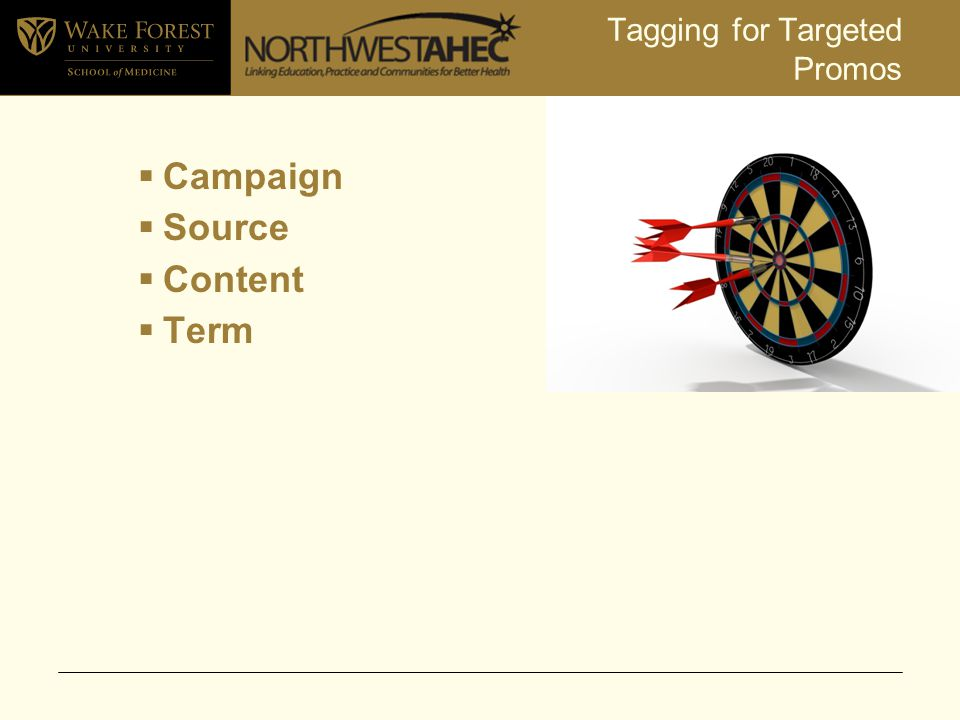 Tagging for Targeted Promos  Campaign  Source  Content  Term