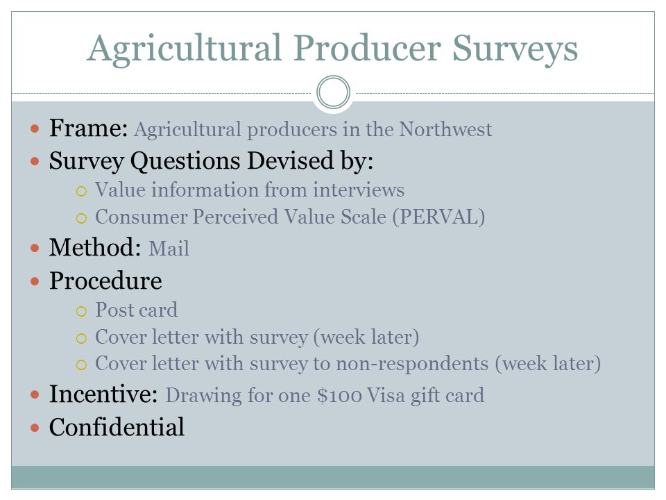 Ag Coop Employee Survey Objectives Determine how well agricultural coop employees understand agricultural producers' coop perceptions and wants  Recognize any significant differences between position titles and experience levels Identify the success of agricultural coops' value communication efforts