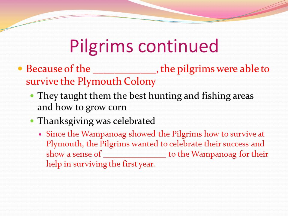 Pilgrims continued Because of the ____________, the pilgrims were able to survive the Plymouth Colony They taught them the best hunting and fishing areas and how to grow corn Thanksgiving was celebrated Since the Wampanoag showed the Pilgrims how to survive at Plymouth, the Pilgrims wanted to celebrate their success and show a sense of _______________ to the Wampanoag for their help in surviving the first year.