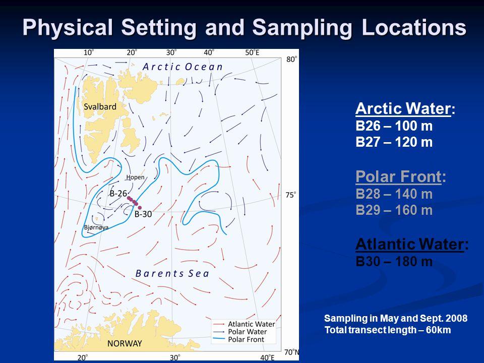 Arctic Water : B26 – 100 m B27 – 120 m Polar Front: B28 – 140 m B29 – 160 m Atlantic Water: B30 – 180 m Physical Setting and Sampling Locations Sampling in May and Sept.
