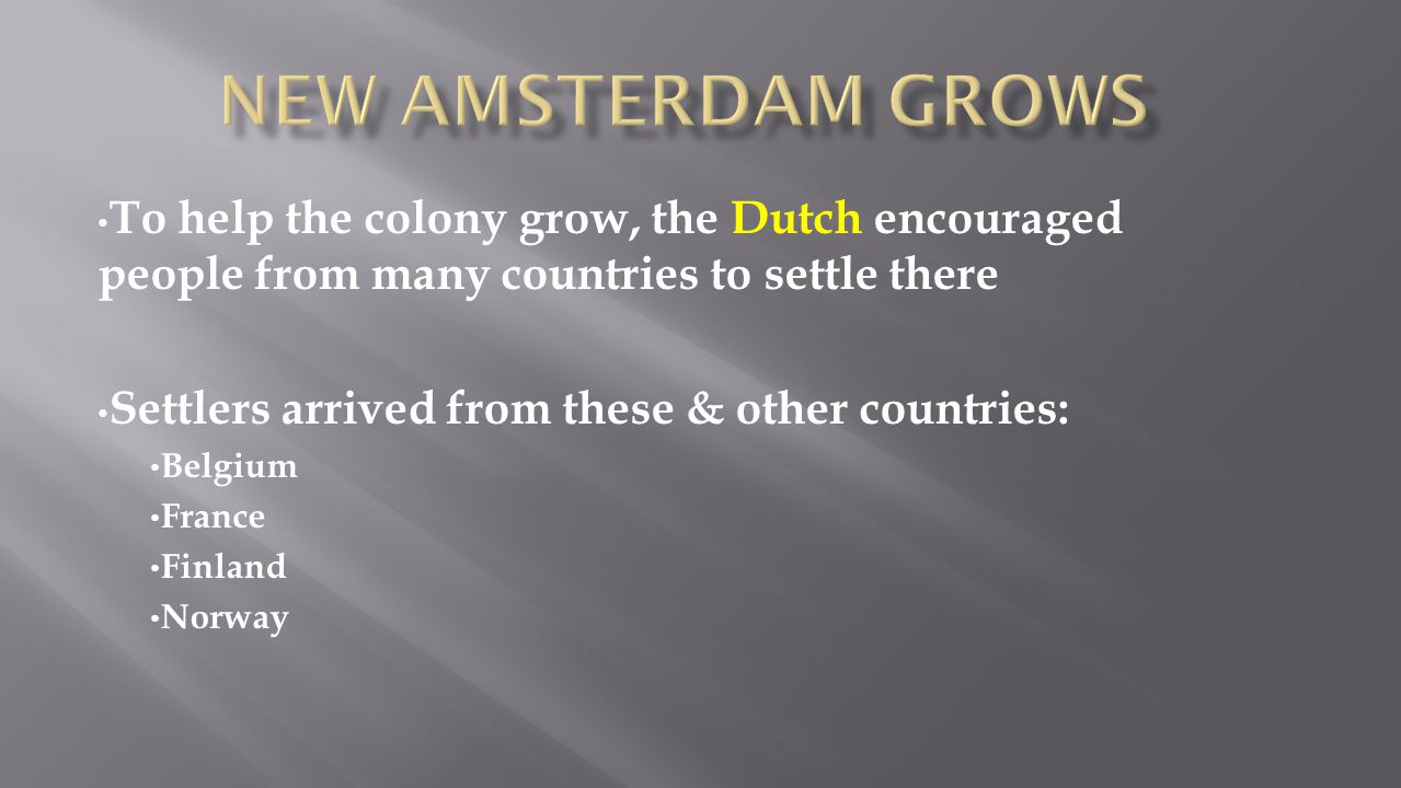 To help the colony grow, the Dutch encouraged people from many countries to settle there Settlers arrived from these & other countries: Belgium France