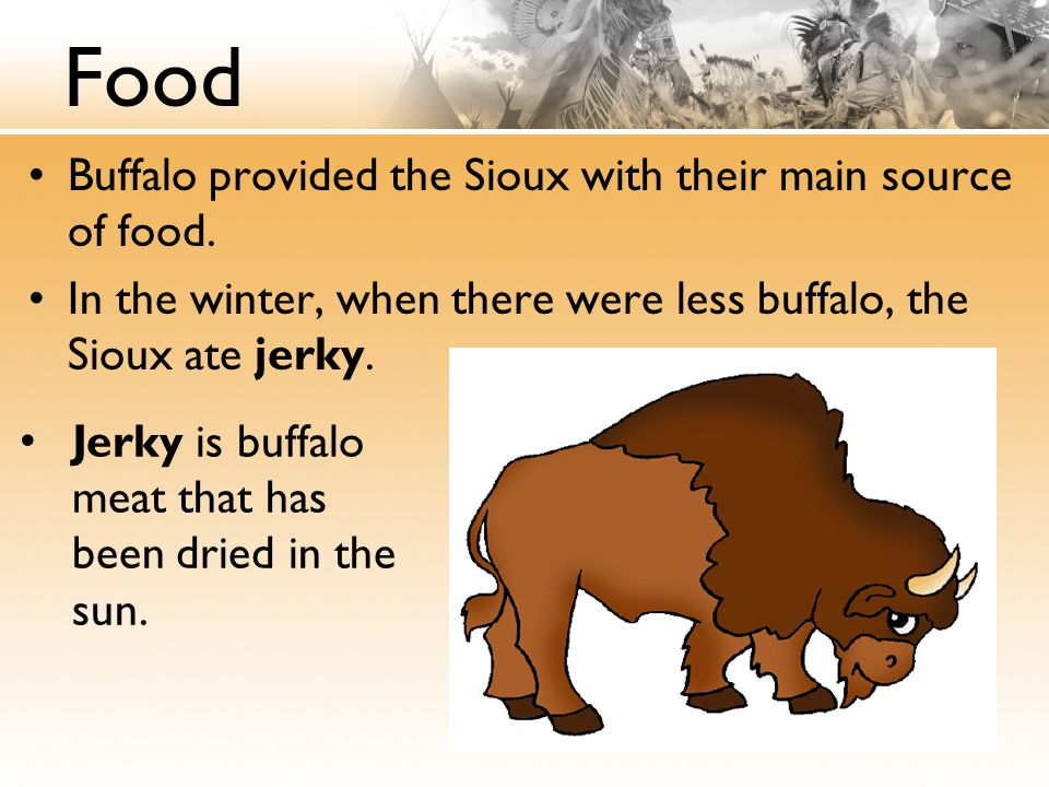 Food Buffalo provided the Sioux with their main source of food.