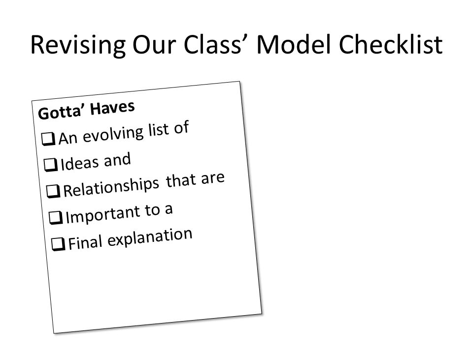 Revising Our Class' Model Checklist