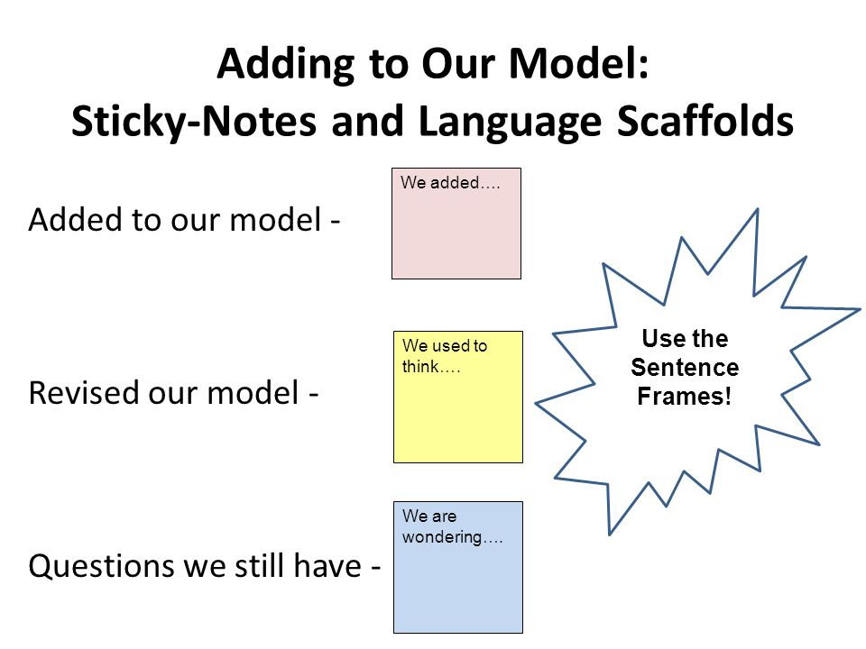Adding to Our Model: Sticky-Notes and Language Scaffolds Added to our model - Revised our model - Questions we still have - We added….