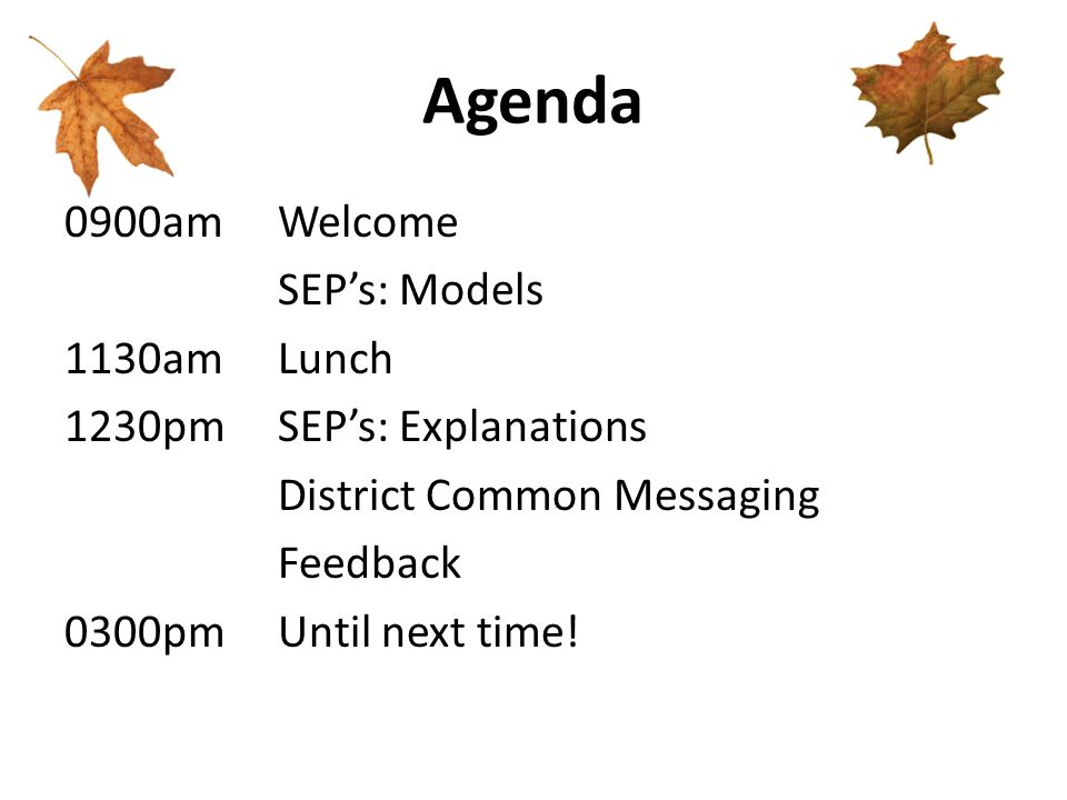Agenda 0900amWelcome SEP's: Models 1130amLunch 1230pmSEP's: Explanations District Common Messaging Feedback 0300pmUntil next time!