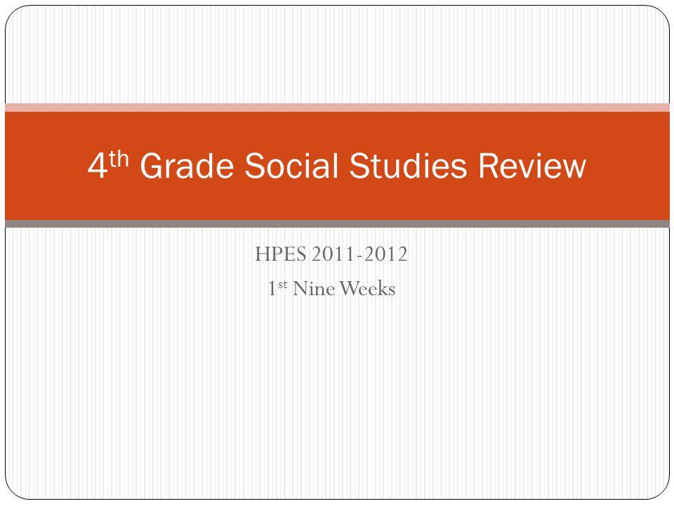 HPES 2011-2012 1 st Nine Weeks 4 th Grade Social Studies Review