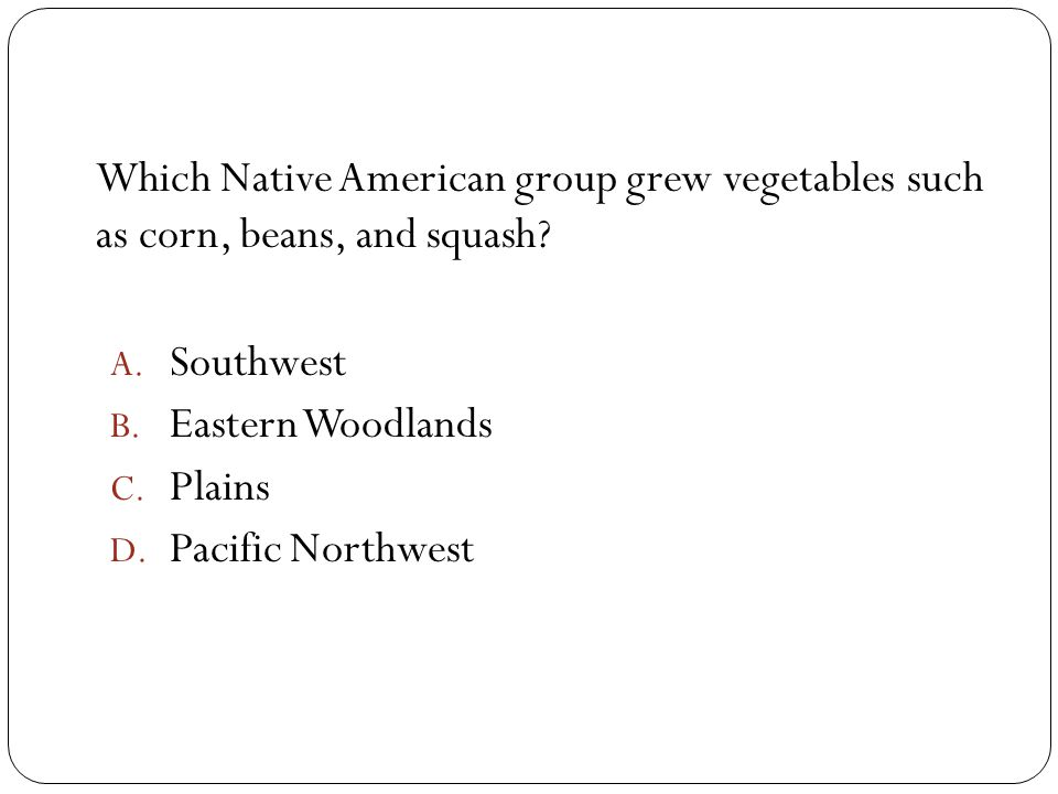 Which Native American group grew vegetables such as corn, beans, and squash? A. Southwest B. Eastern Woodlands C. Plains D. Pacific Northwest