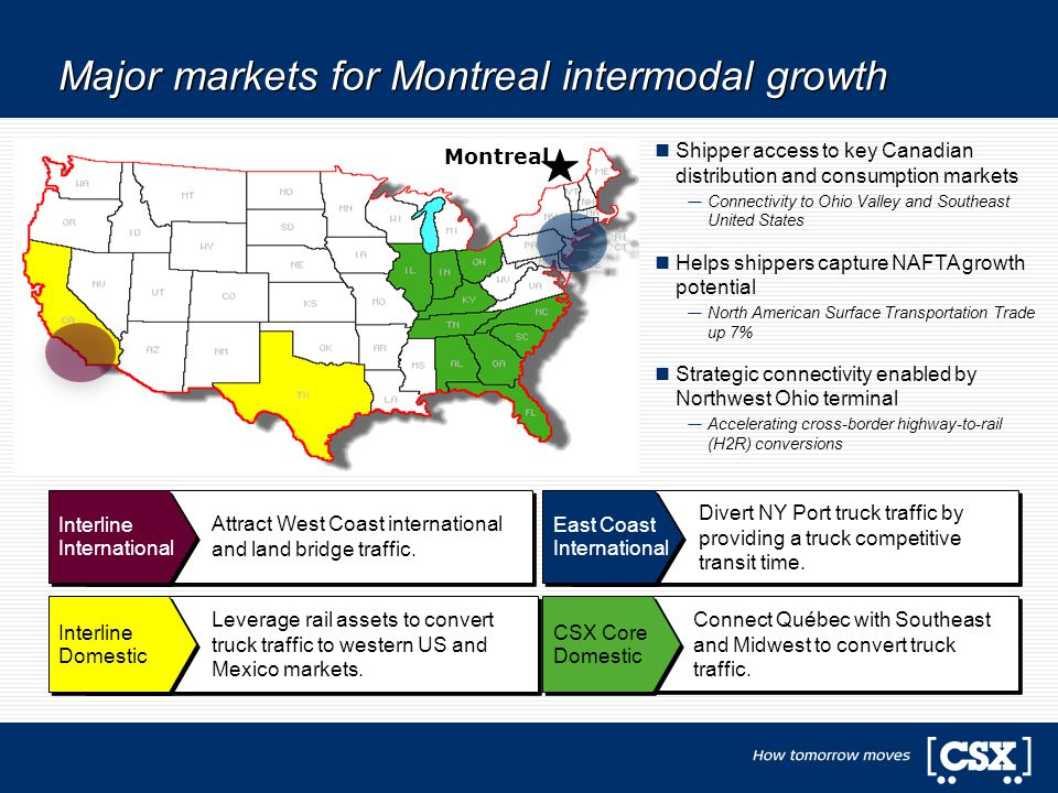 Montreal Major markets for Montreal intermodal growth Divert NY Port truck traffic by providing a truck competitive transit time. East Coast Internati