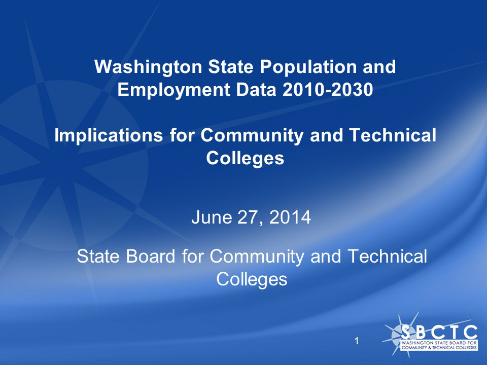 Washington State Population and Employment Data Implications for Community and Technical Colleges June 27, 2014 State Board for Community and Technical Colleges 1