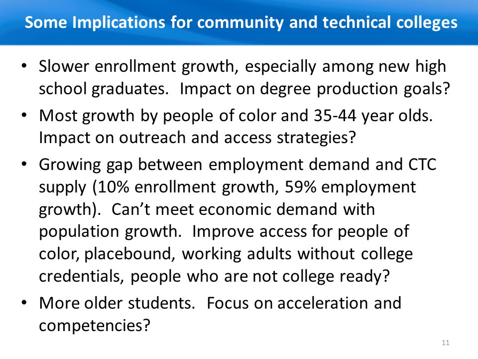 11 Slower enrollment growth, especially among new high school graduates.