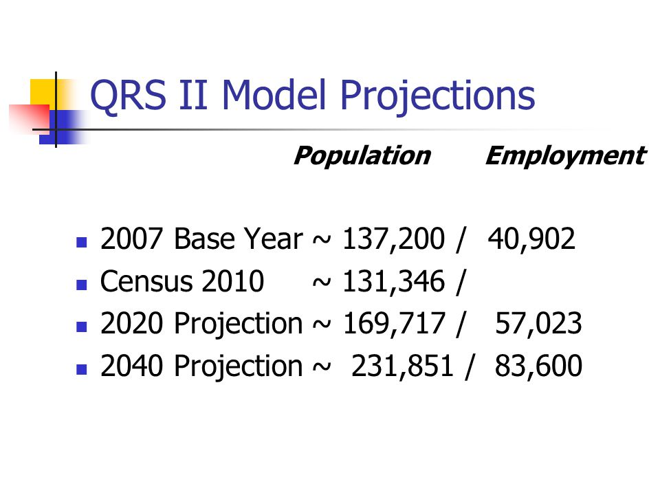 QRS II Model Projections Population Employment 2007 Base Year ~ 137,200 / 40,902 Census 2010 ~ 131,346 / 2020 Projection ~ 169,717 / 57,023 2040 Projection ~ 231,851 / 83,600