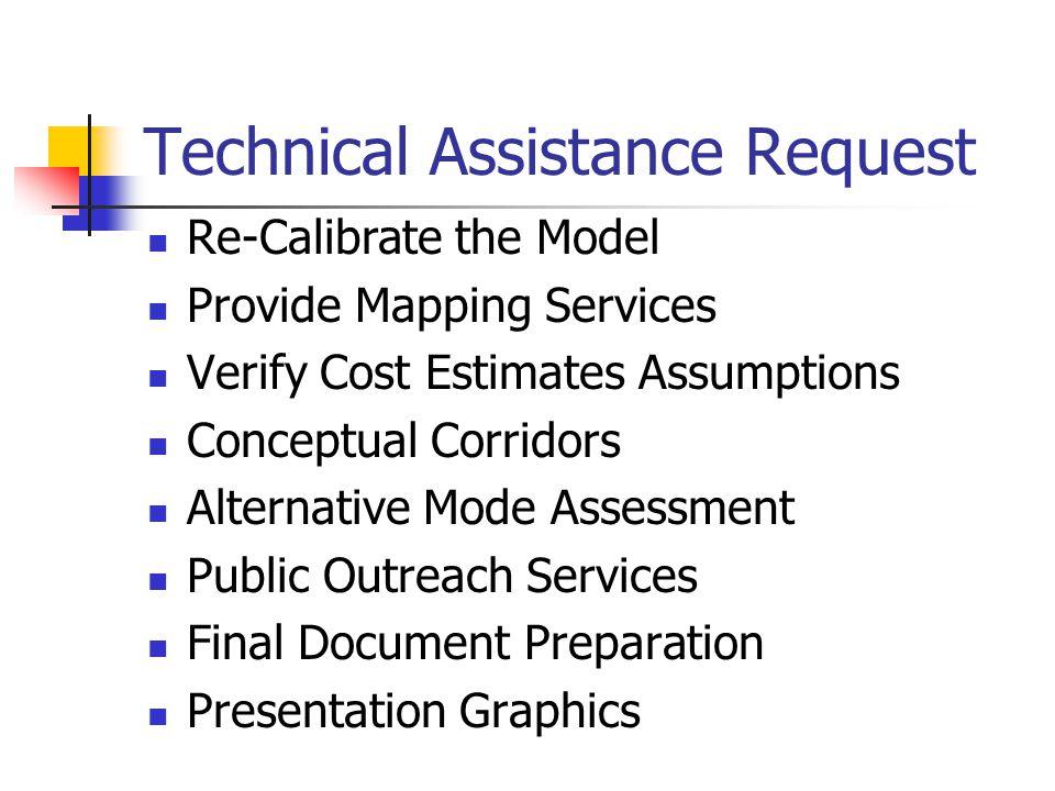 Technical Assistance Request Re-Calibrate the Model Provide Mapping Services Verify Cost Estimates Assumptions Conceptual Corridors Alternative Mode Assessment Public Outreach Services Final Document Preparation Presentation Graphics